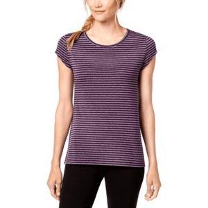 Ideology Large Purple Striped Cut Out T Shirt 3W38